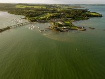 Waitangi Treaty Grounds Aerial At Sunset. Small New Zealand town in the bay of islands, paihia is close the waitangi treaty grounds and is a popular holiday Stock Images