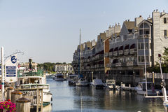 Small, nice Harbour near Boston. With view on boats and houses Royalty Free Stock Image
