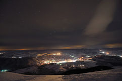 Small night town in the mountains Royalty Free Stock Images