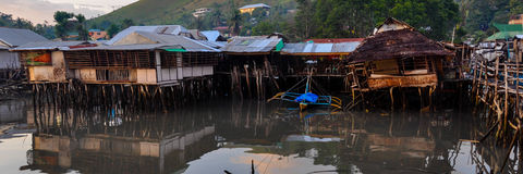 Small Nipa Homes Built on The Black Water Stock Photo