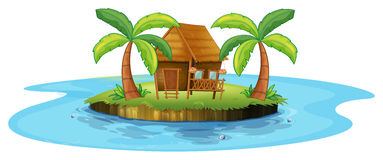A small nipa hut in an island Royalty Free Stock Photography