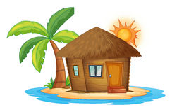 A small nipa hut in the island. Illustration of a small nipa hut in the island on a white background Stock Photo