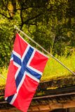 Small Norway flag in row outdoor Royalty Free Stock Photos