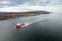 Small Norwegian red oil products tanker Stock Photo