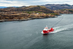 Small Norwegian red oil products tanker Royalty Free Stock Photo