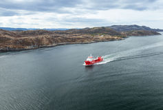 Small Norwegian red oil tanker ship Stock Photography