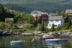 Small norwegian village on hardangerfjord Royalty Free Stock Images