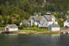 Small norwegian village on hardangerfjord Royalty Free Stock Image