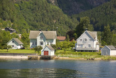 Small norwegian village on hardangerfjord Royalty Free Stock Photos
