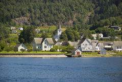 Small norwegian village on hardangerfjord Stock Photo