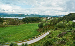 Small Norwegian village on the island, the view from the top royalty free stock photo