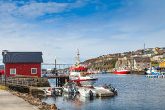 Small Norwegian village landscape, moored boats Stock Photo