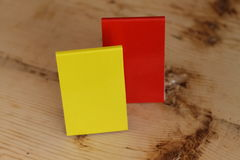 Small notepad. Two notes,red and yellow Stock Photo