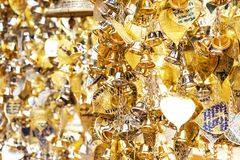 A small number of gold and silver bells were hung for blessings. Measured in faith royalty free stock photo