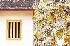 A small number of gold and silver bells were hung for blessings. Measured in faith royalty free stock image
