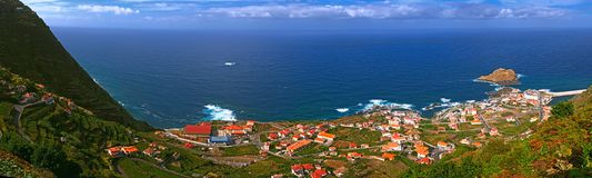 Small ocean town. Panorama of the small ocean town, Island Madiera, Portugal Royalty Free Stock Photo