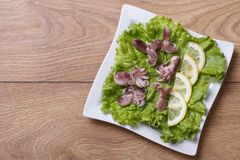 Small octopus with lemon slices on lettuce. top view. Royalty Free Stock Photos