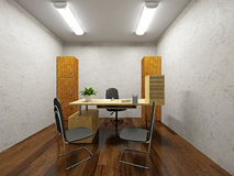 A small office. With a table and chairs Stock Photos