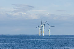 Small Offshore Wind Farm. Yttre Stengrund Offshore Wind Farm is located some kilometers off the coast of Blekinge in southern Kalmarsund Stock Photos