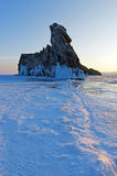 Small Ogoi island on Baikal lake is famous for bizarre rock formation. Stock Photography