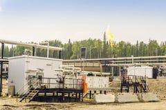 Small oil refinery next to Grande Prairie, Alberta, Canada. Small oil refinery next to Grande Prairie in Alberta, Canada royalty free stock photo