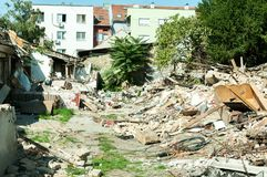 Small old and abandoned house demolished of the earthquake destruction . Small old and abandoned house demolished of the earthquake destruction Stock Photo