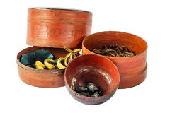 Small old antique lacquer wares Royalty Free Stock Images