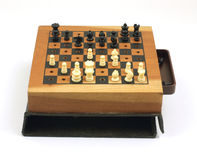 Small old chess set game Stock Photo