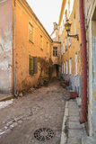 Small old corner street. Cute corner street in a medieval town Royalty Free Stock Photography