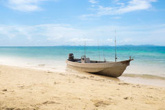 Small old fishing boat on beach at Koh Chang Island.Thailand Sea Royalty Free Stock Images