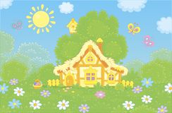 Small old hut on a sunny Easter day royalty free stock photos