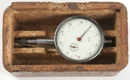 Small old mechanical curvimeter in a box Royalty Free Stock Images