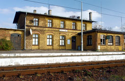 Small, old railway station Stock Photo