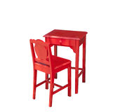 Small old red wooden chair with table Royalty Free Stock Photo