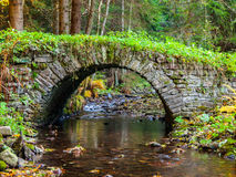 Small old stone bridge in a forest. Picturesque old stone bridge over calm brook in an autumn forest Royalty Free Stock Images