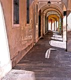 Small old street and archs in italian city Padua in region of Veneto, Italy stock photography