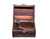 Small old trunk with the key Royalty Free Stock Photos