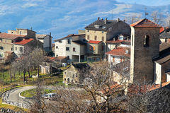 Small old village in the Apennines mountains Stock Images