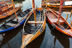 Small old wooden fishing boats in The Netherlands Stock Photo
