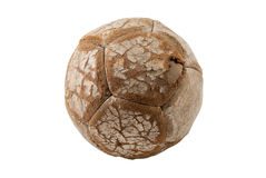 Small old worn leather soccer ball, isolated Royalty Free Stock Images