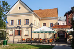 Small open-air cafe in Trinity Suburb, Minsk. Early morning Stock Images