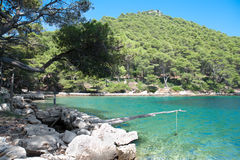 Small open water shell farm in national park Mljet Stock Photography
