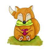 A small orange cartoon fox in a green scarf sits and holds a heart in its paws. Watercolor illustration
