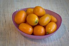 Kumquats in a pink bowl. Stock Photo