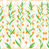 Small orange flowers. Seamless pattern of a small orange flowers and a striped ribbon Royalty Free Stock Photos