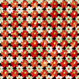 Small orange flowers abstract grunge texture seamless pattern. (vector eps 10 Stock Photo
