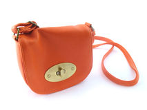 Small orange handbag Stock Images