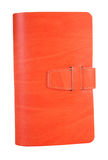 Small orange leather notebook stock photo