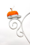 Small Orange Pumpkin on White Sconce Stock Images