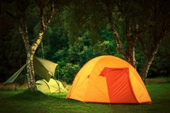 Small Orange Tent Camping Royalty Free Stock Photos